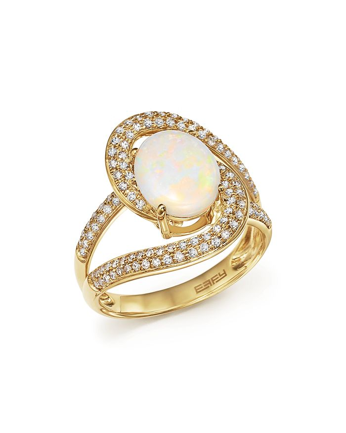 Bloomingdale's - Opal Oval and Pavé Diamond Ring in 14K Yellow Gold