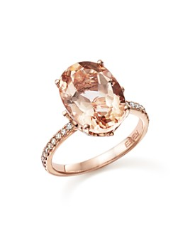 Bloomingdale's - Morganite Oval and Diamond Statement Ring in 14K Rose Gold - 100% Exclusive