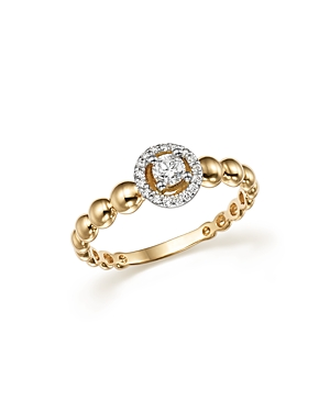 Diamond Beaded Band in 14K White and Yellow Gold, .20 ct. t.w. - 100% Exclusive