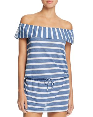 Splendid Chambray Cottage Stripe Off-the-Shoulder Dress Swim Cover-Up
