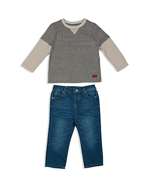 7 For All Mankind Infant Boys Layered Look Top  Straight Jeans Set  Sizes 1224 Months