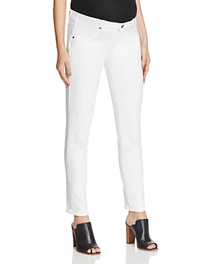 Paige Skyline Skinny Ankle Maternity Jeans in Optic White-Women