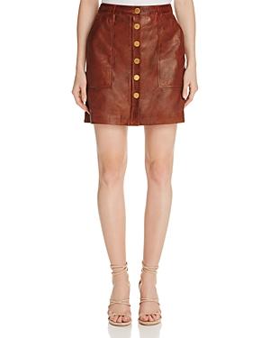 Michael Michael Kors Button-Front Leather Skirt