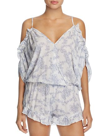 Surf Gypsy - Paisley Cold Shoulder Romper Swim Cover-Up