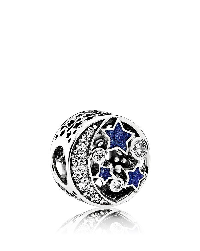 Pandora - Moments Collection Sterling Silver, Blue Enamel & Cubic Zirconia Vintage Night Charm