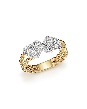 Diamond Pave Double Heart Beaded Ring in 14K White and Yellow Gold, .15 ct. t.w. - 100% Exclusive