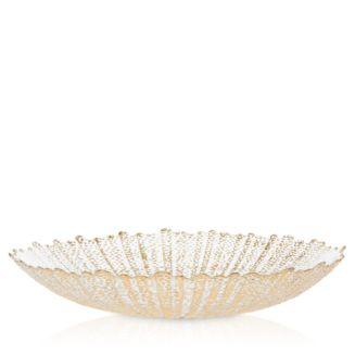 Rufolo Glass Gold Large Serving Bowl by Vietri