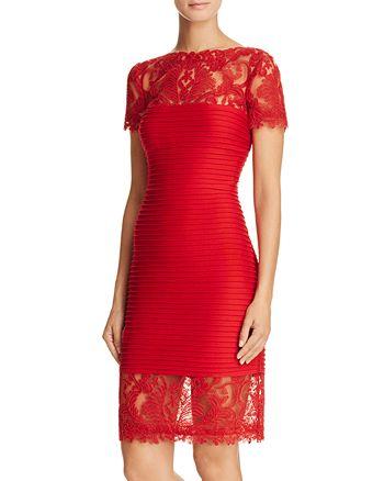 Tadashi Shoji - Illusion Lace Pintucked Dress