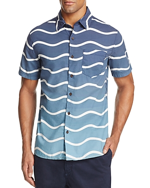 Surfside Supply Ombre Wave Print Regular Fit Button-Down Shirt