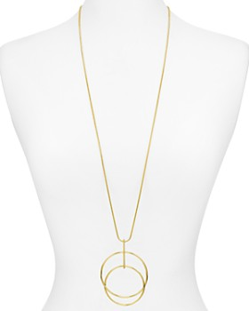 "Argento Vivo - Double Hoop Long Pendant Necklace, 32"""