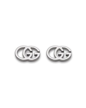 Gucci - Gucci 18K White Gold Running G Stud Earrings