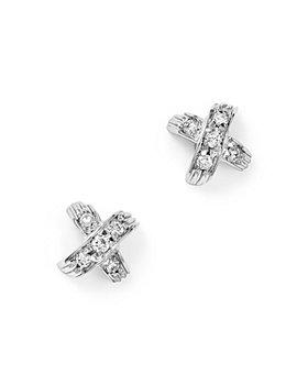 Roberto Coin - 18K White Gold X Pavé Diamond Stud Earrings