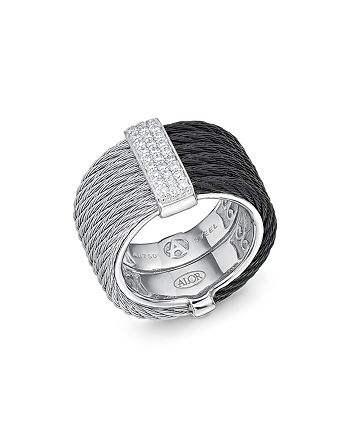 ALOR - Two Tone Cable Ring with Diamonds
