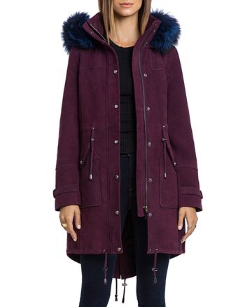 BAGATELLE.CITY - Hooded Suede Parka with Fur Trim
