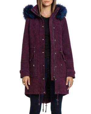 Bagatelle. city Hooded Suede Parka with Fur Trim