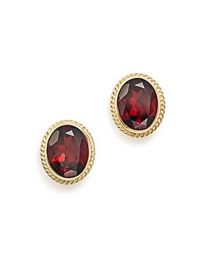 Garnet Oval Large Bezel Stud Earrings in 14K Yellow Gold - 100% Exclusive