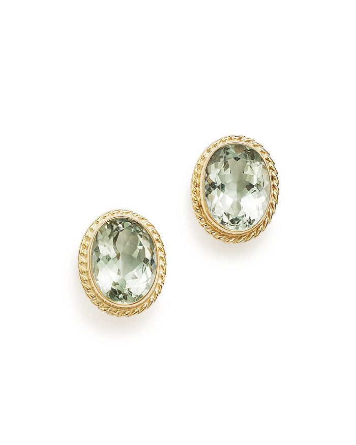 Bloomingdale's - Green Amethyst Oval Bezel Stud Earrings in 14K Yellow Gold - 100% Exclusive