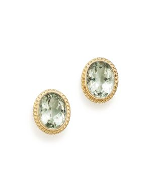 Green Amethyst Oval Bezel Stud Earrings in 14K Yellow Gold - 100% Exclusive