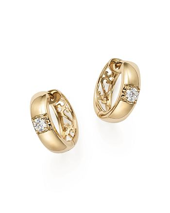 Bloomingdale's - Diamond Huggie Hoop Earrings in 14K Yellow Gold, .25 ct. t.w. - 100% Exclusive