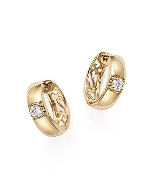 Diamond Huggie Hoop Earrings in 14K Yellow Gold, .25 ct. t.w. - 100% Exclusive