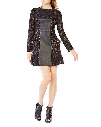 BCBGMAXAZRIA - Briony Faux Leather-Paneled Dress