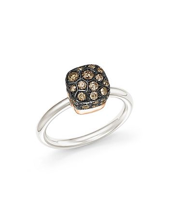 Pomellato - Nudo Ring with Brown Diamonds in 18K White and Rose Gold