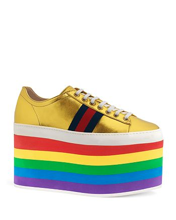 702384d52b7 Gucci - Women s Peggy Rainbow Platform Sneakers