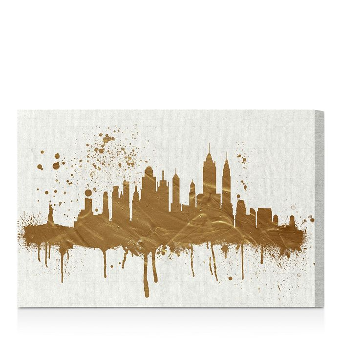 "Oliver Gal - Gold NY Skyline Wall Art, 15"" x 10"""