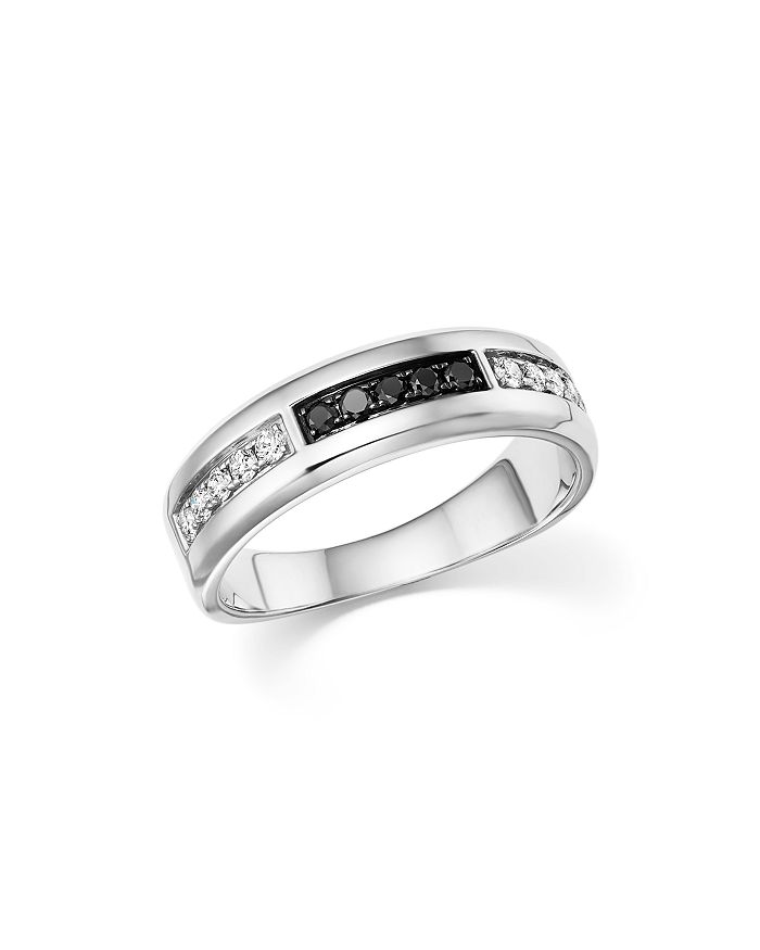 Bloomingdale's - White and Black Diamond Men's Band in 14K White Gold - 100% Exclusive