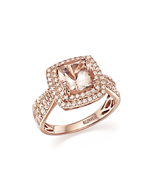 Morganite Statement Ring with Diamonds in 14K Rose Gold - 100% Exclusive