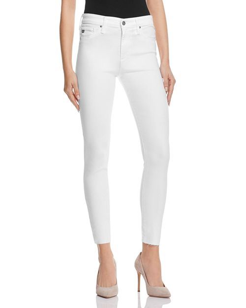 201f6357faf2 AG Farrah Skinny High-Rise Ankle Jeans in White   Bloomingdale s