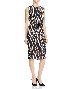 Max Mara Nespola Pleated Animal-Print Dress
