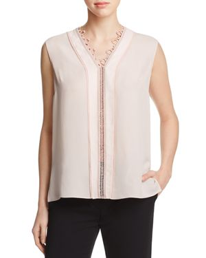 Elie Tahari Colette Embroidered Silk Blouse