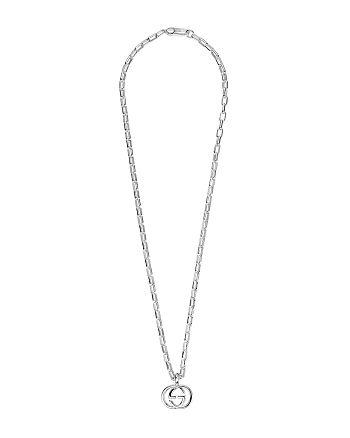 5e361c01e2 Gucci Sterling Silver Interlocking Double G Pendant Necklace, 20 ...