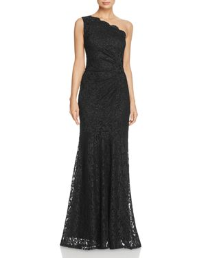 DECODE 1.8 One-Shoulder Lace Gown in Black