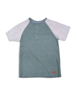 7 For All Mankind Boys' Color-Block Slubbed Henley Tee - Big Kid