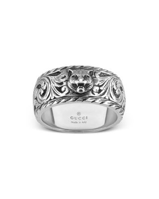 Sterling Silver Feline Head Carved Ring by Gucci