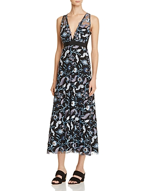 Sandro Blueshine Embroidered Midi Dress - 100% Exclusive