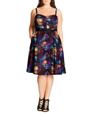 City Chic Belted Burst-Print Dress