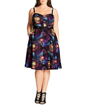 New City Chic Belted Burst-Print Dress, Fireworks