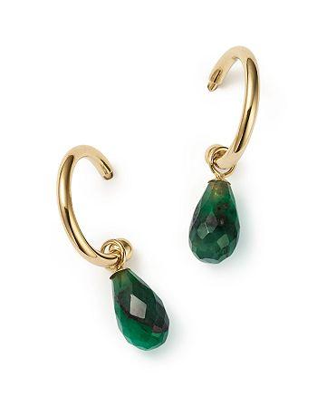 Bloomingdale's - Emerald Briolette Hoop Drop Earrings in 14K Yellow Gold - 100% Exclusive
