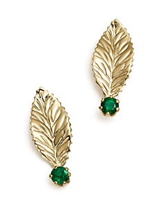 Bloomingdale's - Emerald Leaf Earrings in 14K Yellow Gold - 100% Exclusive