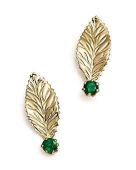 Bloomingdale's - Emerald Leaf Earrings in 14K Yellow Gold- 100% Exclusive