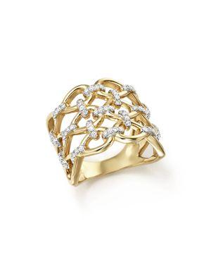 Diamond Micro-Pave Lattice Ring in 14K Yellow Gold, .50 ct. t.w. - 100% Exclusive