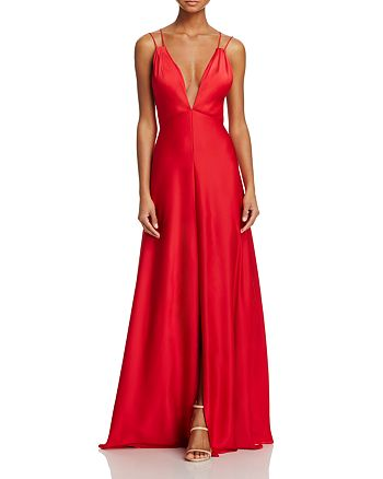 Aidan Mattox - Plunging Satin Gown - 100% Exclusive
