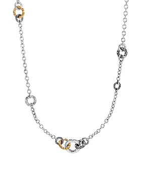 """JOHN HARDY - 18K Yellow Gold and Sterling Silver Classic Chain Hammered Link Sautoir Necklace, 36"""""""