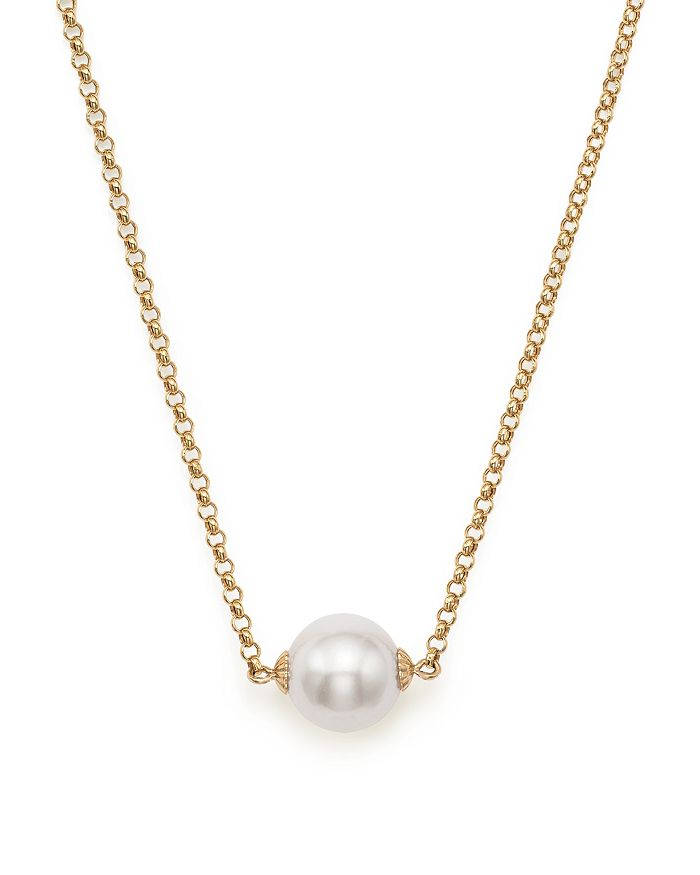 "Bloomingdale's - Cultured South Sea Pearl Pendant Rolo Chain Necklace in 14K Yellow Gold, 18"" - 100% Exclusive"
