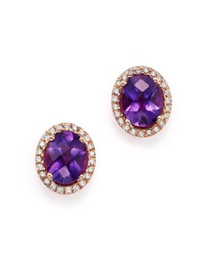 Amethyst Oval and Diamond Earrings in 14K Rose Gold - 100% Exclusive