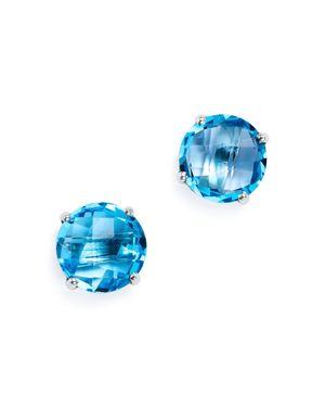 Blue Topaz Briolette Stud Earrings in 14K White Gold - 100% Exclusive