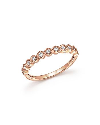 Bloomingdale's - Diamond Milgrain Bezel Stacking Band in 14K Rose Gold, .25 ct. t.w. - 100% Exclusive